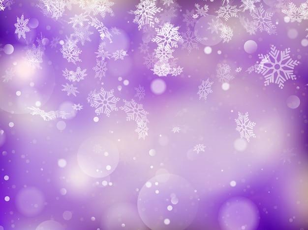 Elegante sfondo di natale con fiocchi di neve e posto per il testo.