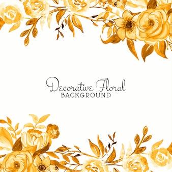 Elegante sfondo giallo fiore cornice ad acquerello