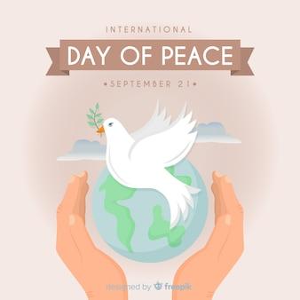 Elegante sfondo giornata della pace con colomba bianca