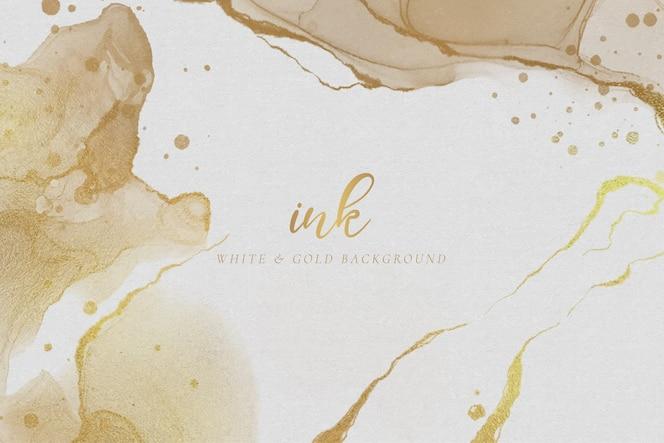 Elegante sfondo inchiostro bianco e oro
