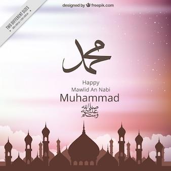 Elegante sfondo mawlid con la moschea