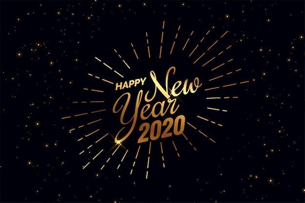 Elegante sfondo nero e dorato felice nuovo anno 2020