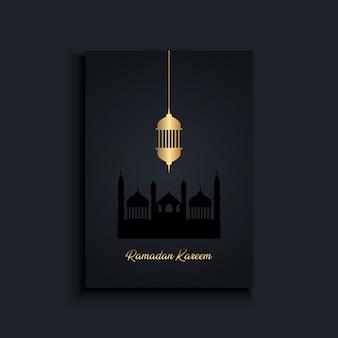 Elegante sfondo ramadan kareem con lanterna sospesa in oro