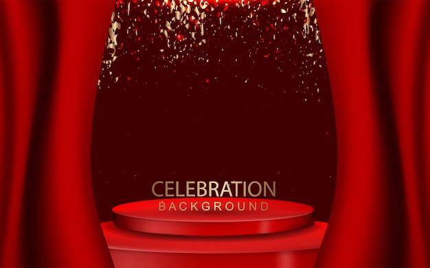 Elegante sfondo rosso podio con decorazione di coriandoli