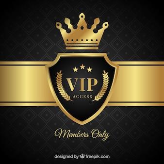 Elegante sfondo scudo vip con corona