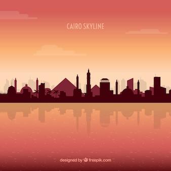 Elegante skyline di cairo con design piatto
