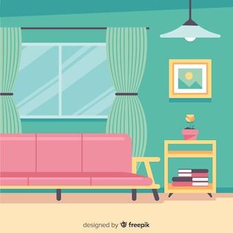 Elegante soggiorno interno con design piatto