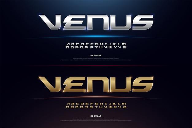 Elegante sport silver e golden alphabet font