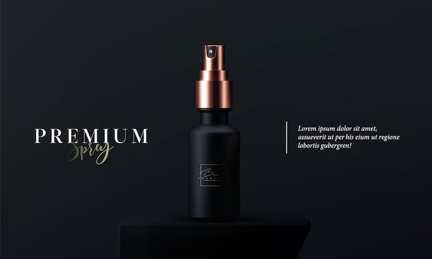 Elegante spray cosmetico per la cura della pelle su sfondo nero. realistico spray cosmetico opaco nero e oro 3d. bellissimo modello cosmetico per gli annunci. marchio di prodotti di bellezza.