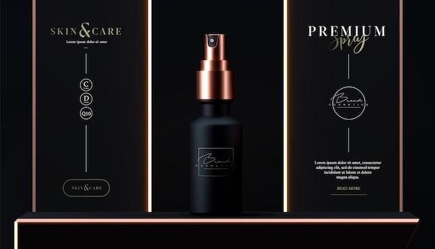 Elegante spray cosmetico per la cura della pelle sul nero. spray cosmetico