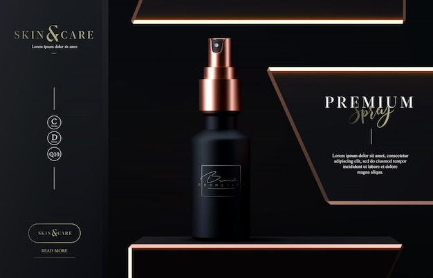 Elegante spray cosmetico per la cura della pelle sul nero.