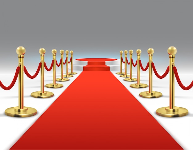 Elegante tappeto rosso con podio rotondo. stile di vita, prestigio e glamour delle celebrità