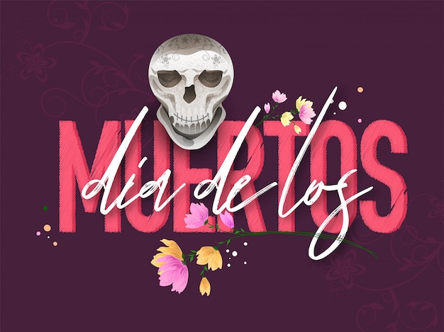 Elegante testo di dia de los muertos con teschio su motivo floreale viola per giorno dei morti banner o poster.