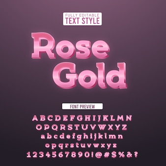 Elegante tipografia metallica in oro rosa 3d