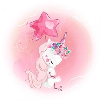 Elegante unicorno con un palloncino a stella nel cielo.