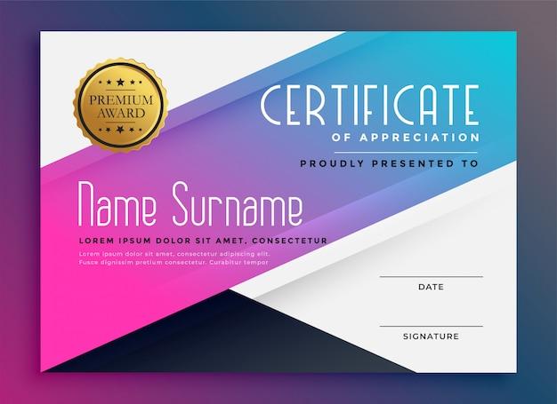 Elegante vibrante certificato di modello di apprezzamento