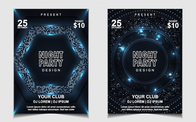 Elegante volantino blu notte dance party music design o poster