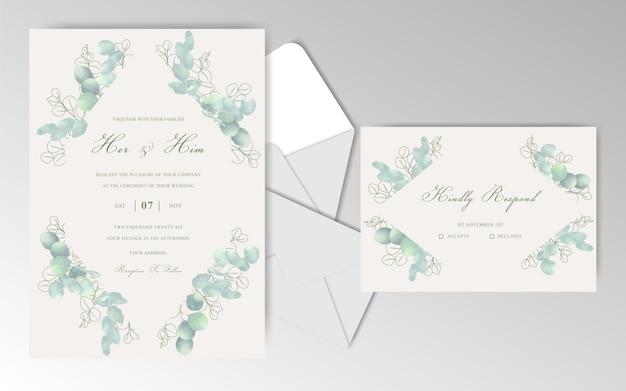 Eleganti biglietti d'invito per matrimonio ad acquerello con bellissimo eucalipto