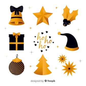Eleganti elementi natalizi neri e dorati