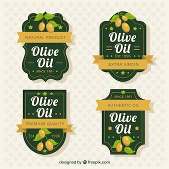 Eleganti etichette dell'olio di oliva