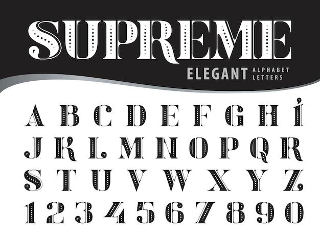 Eleganti lettere dell'alfabeto, caratteri moderni stile serif, tipografia vintage e retrò