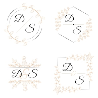 Eleganti monogrammi con fiori per matrimoni