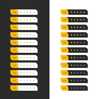 Eleganti simboli di valutazione delle stelle di colore scuro e giallo chiaro
