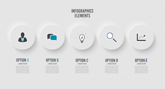 Elementi astratti del modello di infografica grafico con etichetta, cerchi integrati.