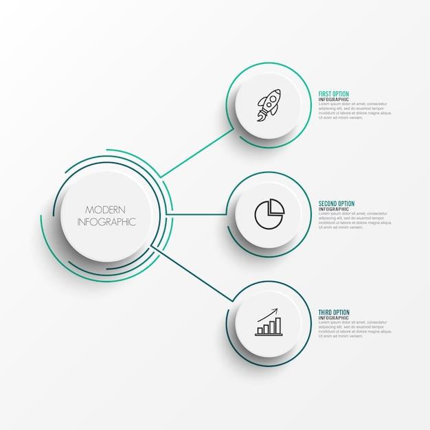 Elementi astratti del modello infographic grafico con etichetta
