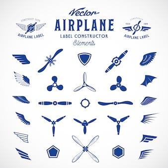 Elementi astratti della costruzione delle etichette o del logos dell'aeroplano. isolato