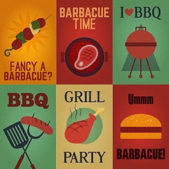 Elementi barbecue d'epoca in stile piatto