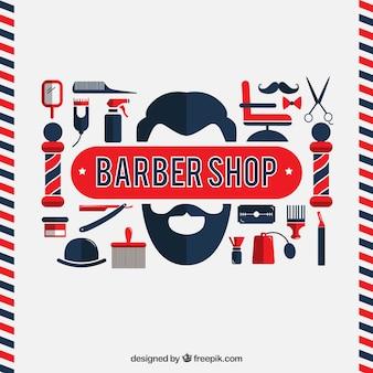 Elementi barbiere in design piatto