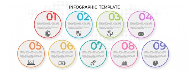 Elementi cerchio infografica 9 opzioni.