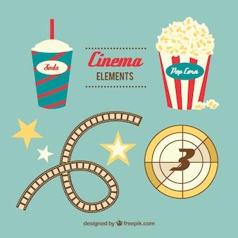 Elementi cine pacchetto in design piatto