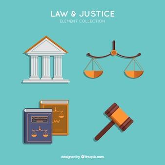 Elementi classici di legge e giustizia con design piatto
