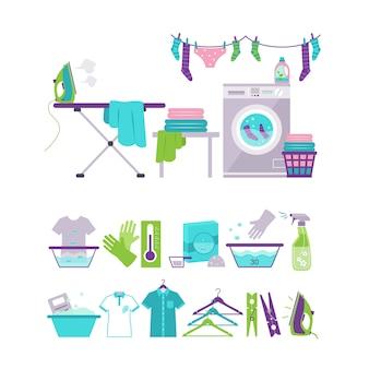 Elementi colorati della lavanderia e di lavaggio nell'insieme piano dell'illustrazione di stile