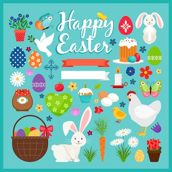 Elementi colorati di pasqua. illustrazione di vettore di primavera ostern con carota e torta, coniglio e uova