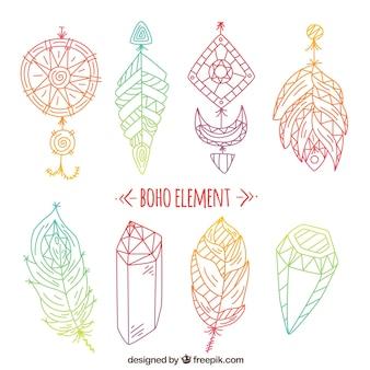 Elementi colorati in stile boho