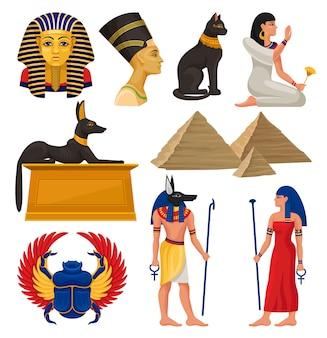 Elementi culturali dell'antico egitto. faraone e regina, animali sacri, piramidi egiziane e persone. impostato
