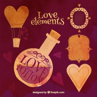 Elementi d'amore in stile vintage