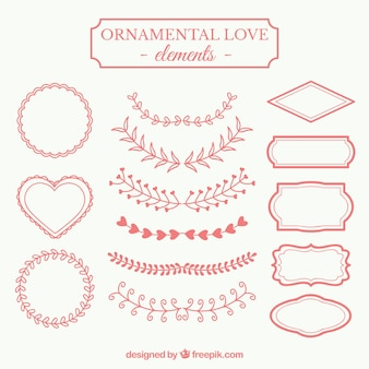 Elementi d'amore ornamentali in rosso