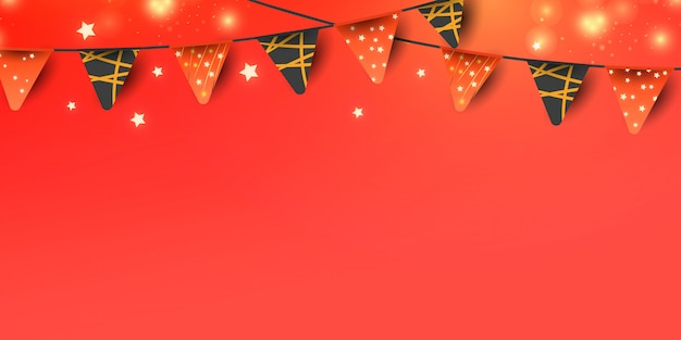 Elementi decorativi di natale o capodanno per la decorazione di banner su sfondo rosso