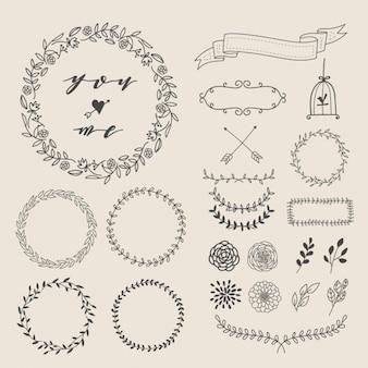Elementi decorativi disegnati a mano