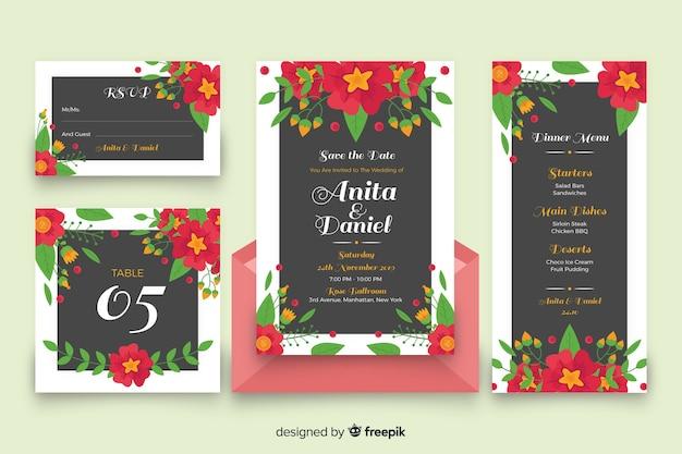 Elementi decorativi floreali colorati