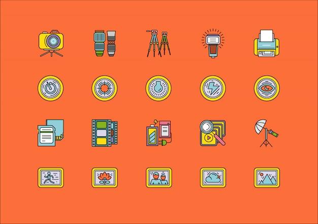Elementi degli articoli dell'attrezzatura di elaborazione della foto
