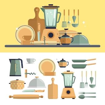 Elementi degli utensili da cucina della cucina isolati. illustrazione vettoriale di design piatto. bollitore, mixer, piatti, padelle, apriscatole.