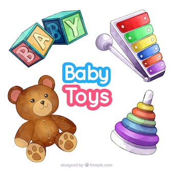 Elementi del bambino impostati in stile acquerello