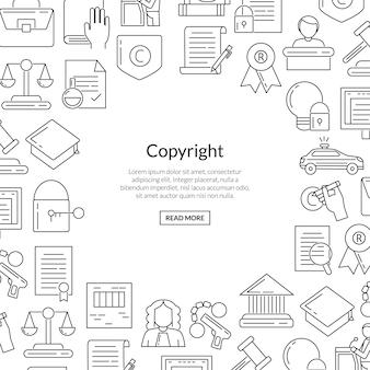 Elementi del copyright stile lineare con posto per il testo in forma di cerchio