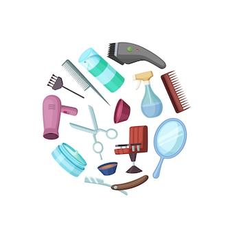 Elementi del fumetto del barbiere del parrucchiere nel cerchio isolato su bianco