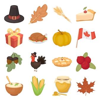 Elementi del fumetto del giorno del ringraziamento del canada nella raccolta dell'insieme per progettazione.